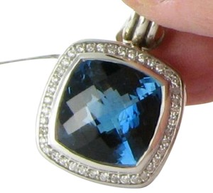 David Yurman Albion Enhancer Pendant Hampton Blue Topaz Diamonds Sterling Silver