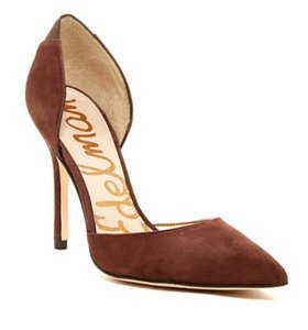 Sam Edelman New Sold Out Pointy-toe Genuine Calf Hair Dark Brown Suede Pumps