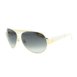 Chopard NEW Chopard SCH 994S 300 Women Gold Rim & White Aviator Sunglasses