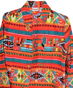 Chico's Tribal Colorful multi Womens Jean Jacket