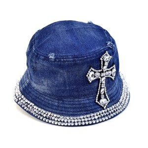 Other Rhinestone Cross Denim Bucket Hat