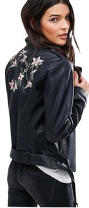 ASOS Embroidery Floral Leather Moto Motercylcle black Leather Jacket