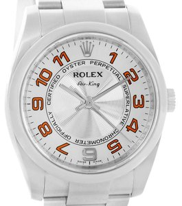 Rolex Rolex Air King Concentric Silver Orange Dial Watch 114200 Box Papers
