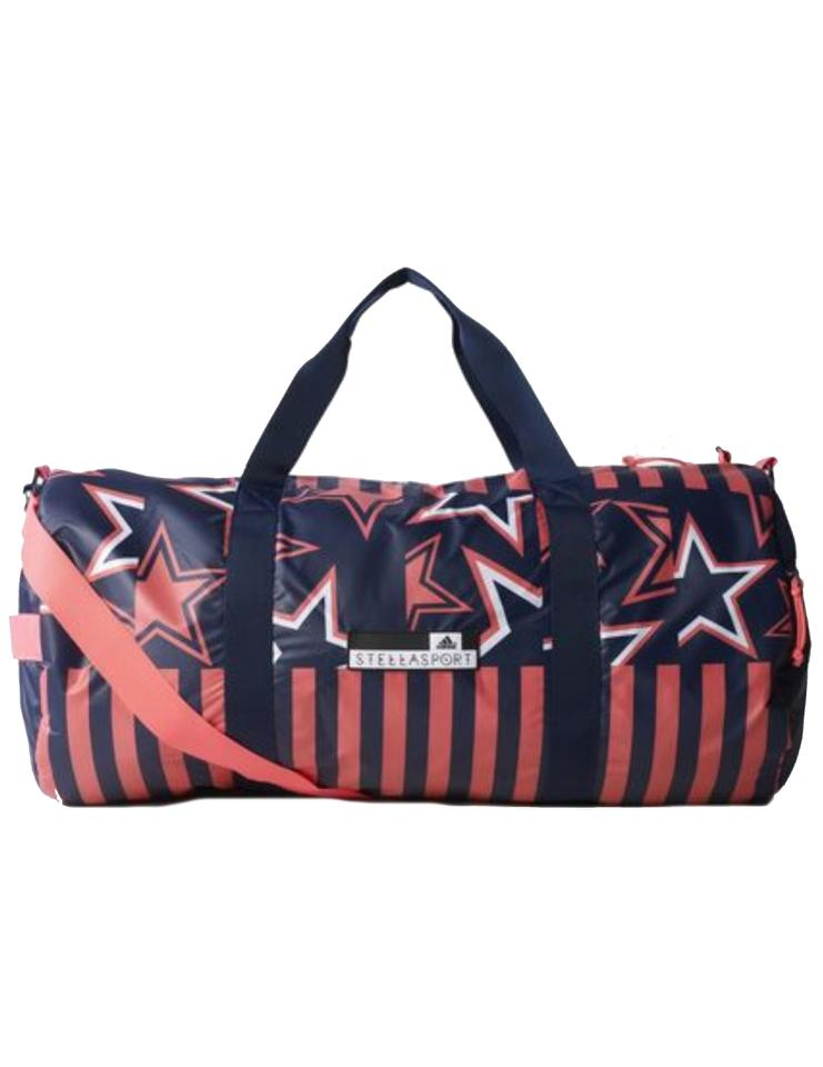 adidas By Stella McCartney Stellaspor T Large Printed Team Night  Indigo Flash Red Recycled Polyester Plain Weave Weekend Travel Bag 5c0277d5f7ab0