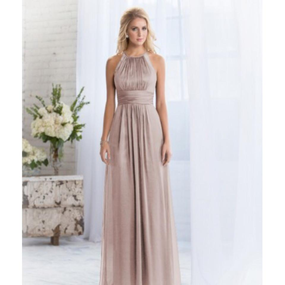 Belsoie Taupe Chiffon/Lace By Jasmine L164060 Feminine Bridesmaid ...