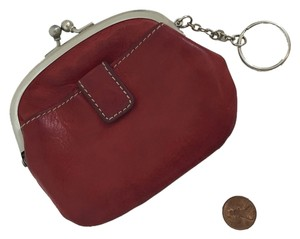 Vintage Vintage Red Kiss Lock Genuine Leather Coin Purse