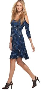 Karen Kane short dress Mesa Blue Cold Trapeze Tropical Print on Tradesy
