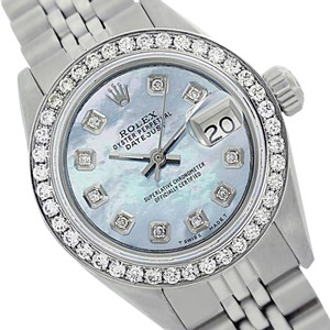 Rolex Rolex ladies Datejust 6917 Blue MOP Dial Genune Diamond Bezel Watch