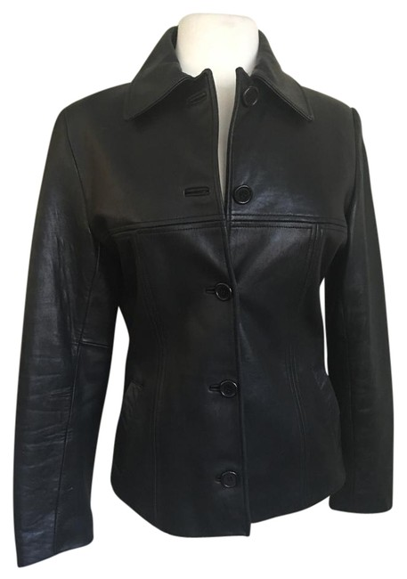 Item - Black Soft Buttoned Front Double Stitching Detail Jacket Size 6 (S)