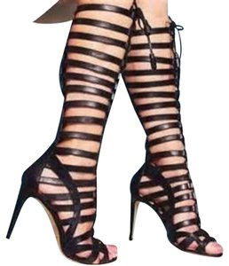 Vince Camuto Gladiator Lace Up Tassels Black Boots