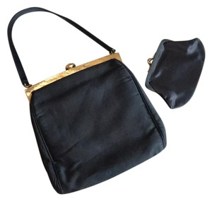 Morris Moskowitz Satin Vintage Coin Chained Coin Satchel in black