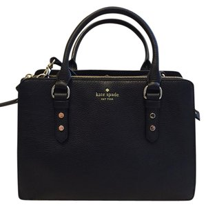 Kate Spade Pebble Leather Mulberry Lise Satchel in Black