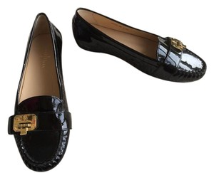 Cole Haan Patent Leather Gold Loafer Black Flats
