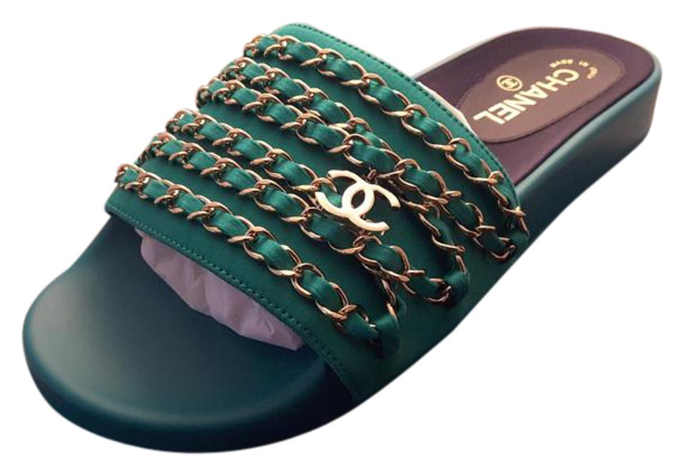 07d32fb60495 Chanel Green Tropiconic Chain Sandals Fabric Mules Slides Size EU 38 ...