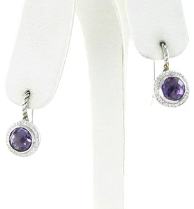 David Yurman Earrings Color Classics 0.18cts Diamonds Amethyst Sterling Silver