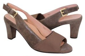 Taryn Rose Leather Slingback Open Toe Brown Pumps
