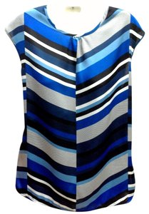 Liz Claiborne Print Sleeveless Top Blue