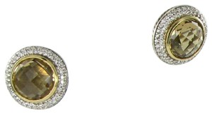 David Yurman Earrings Studs 1.02cts Diamonds Light Citrine 18k Yellow Gold 925
