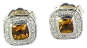 David Yurman Color Classics Earrings Studs .21cts Diamonds Citrine Sterling Silver