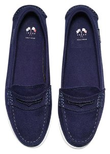 Cole Haan Canvas Loafers navy blue Flats