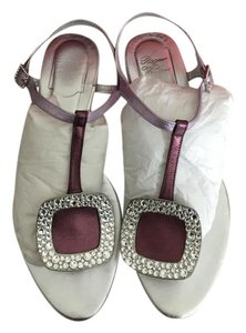 Roger Vivier Swarovski Crystals All Leather metallic purple and pink Sandals