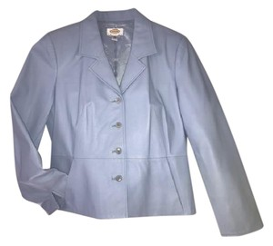 Talbots Stylish Sleeves Light blue Leather Jacket
