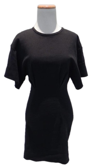 Item - Black Twill Pleated Mid-length Short Casual Dress Size 4 (S)