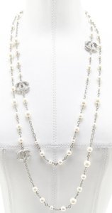 Chanel Chanel 14C Classic Pearl Necklace Chain Silver Crystal CC Logo 62