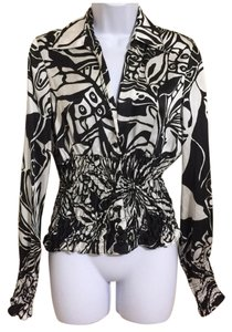 Cache Silk Longsleeve Top Black & White
