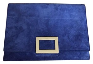 Roger Vivier Suede Leather Champagne Buckle Chain blue Clutch