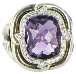 David Yurman Labyrinth Amethyst Diamond 0.18cts Sterling Ring Sz 7