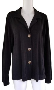 Chico's Slinky Travel Knit Button Front Black Jacket