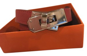 Hermès Hermes Red Leather Kelly Double Tour Bracelet