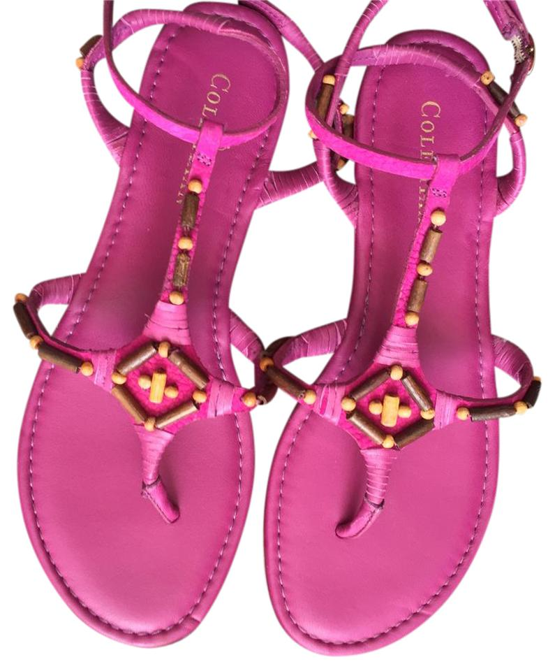 b804bf97e Cole Haan Purple Larissa Beaded Leather Sandals Size US 8.5 Regular ...