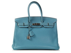Hermès Hr.k1017.08 Clemence Leather Palladium Bleu Satchel