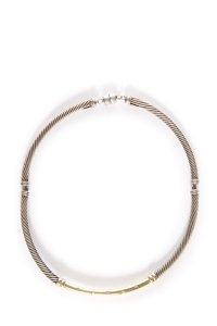 David Yurman Sterling Silver & 18k Yellow Gold Metro Cable Collar