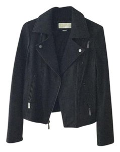 Michael Kors Textured Suede Leather Motorcycle Jacket