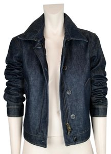 Prada Biker Motorcycle Quilted Lined Gortex DARK BLUE INDIGO Womens Jean Jacket