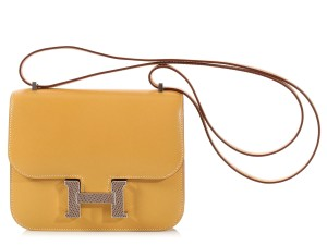 Hermès Yellow Lizard Hr.k0930.08 Tadelakt Leather Shoulder Bag