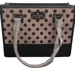 Kate Spade Satchel in black white cream dots