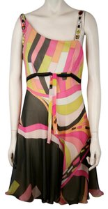 Emilio Pucci Beaded Jeweled Cocktail Silk Multi Color Dress