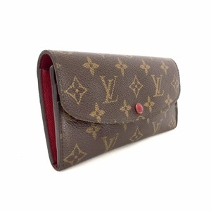 Louis Vuitton Monogram Emily Luxury Scarlet Red Long Bifold Wallet Rouge Purse