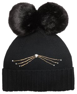 Kate Spade Kate Spade Cat Beanie with Faux Fur Pom Pom