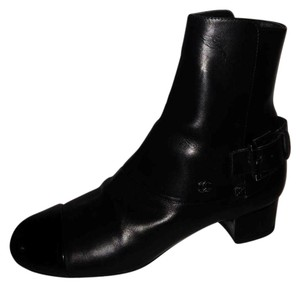 Chanel Buckled Cap Toe Black Boots