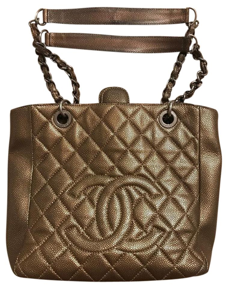 f5f37cbccf91 Chanel Shopping Tote Caviar Quilted Petit Pst Aged Metallic Bronze Leather  Shoulder Bag