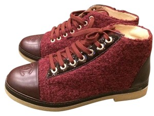Chanel Cc Tweed Tennis Sneaker Burgundy Boots