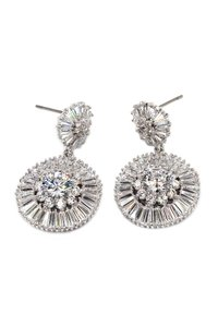 Ocean Fashion shining circle crystal silver earrings