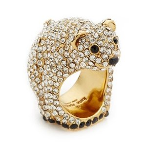 Kate Spade Kate Spade Cold Comforts Gold/ Crystal Bear Ring Size 6 New