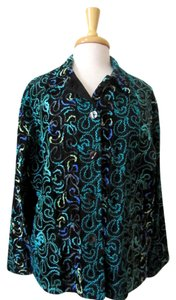 Chico's Chenille Rayon Lightweight Jacket black and turquoise Blazer