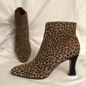 Sesto Meucci Leather Suede Ankle Leopard Print Animal Print Black Tan Brown Boots